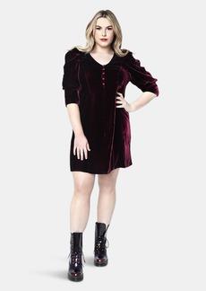 Shegul Kristal Velvet Dress // Bordeaux - L - Also in: M, XS, S