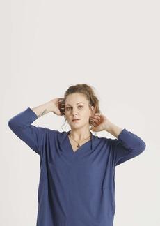 Shegul Valentina V-Neck Top // Denim Blue Size Small