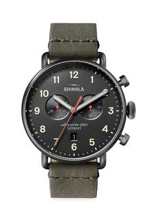 Shinola Canfield Chronograph Leather Strap Watch