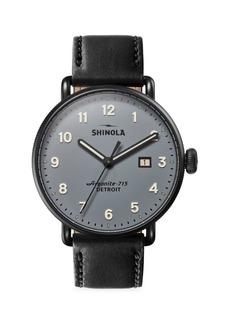 Shinola Canfield Leather Strap Watch