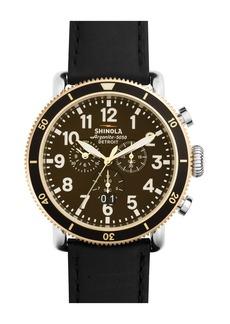 Shinola Men's Runwell  Sports Chrono Brown Leather Strap Watch, 48mm