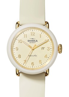 Shinola Detrola Au Gold Silicone Strap Watch, 43mm