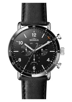 Shinola The Canfield Chrono Leather Strap Watch, 45mm