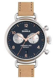Shinola Women's Canfield Chronograph Leather Strap Watch, 38mm