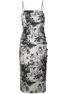 Shona Joy botanical fitted midi dress