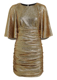 Shona Joy Cleo Ruched Metallic Mini Dress