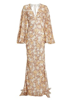 Shona Joy Florence Silk-Lurex Floral Gown