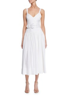 Shona Joy Gaia Sleeveless V-Neck Drop-Waist Midi Dress w/ Belt