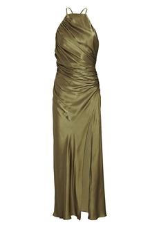 Shona Joy Giselle Ruched Satin Midi Dress