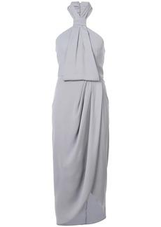 Shona Joy halterneck draped detail dress