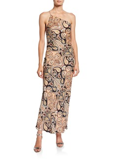 Shona Joy Hendrix Paisley One-Shoulder Bias Slip Dress