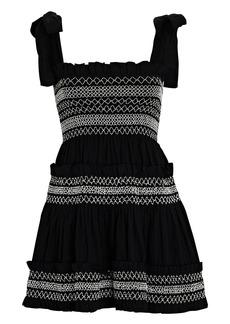 Shona Joy Leda Shirred Cotton Mini Dress