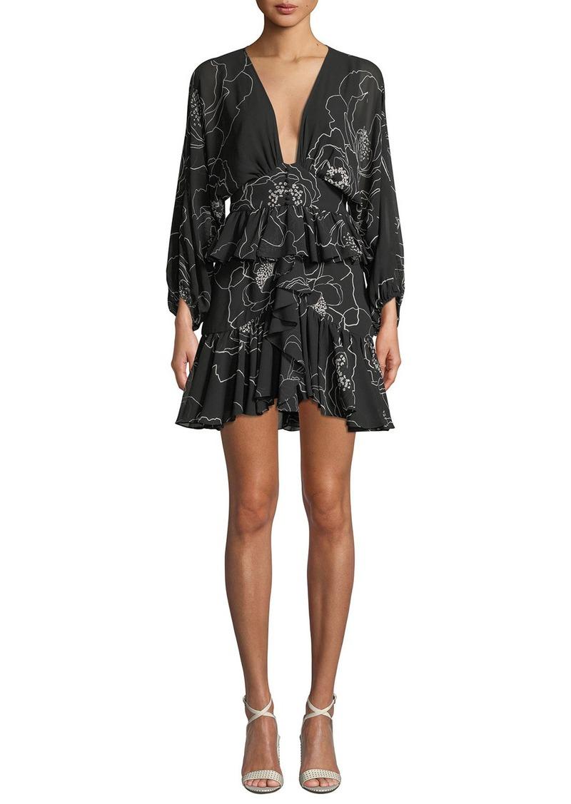 de01d002d7fe Shona Joy Nero Plunge-Neck Floral-Print Ruffled Mini Dress