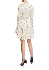Shona Joy Odell Polka-Dot Long-Sleeve Frill Cuff Mini Wrap Dress