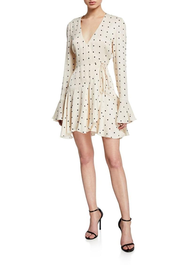 Odell Polka-Dot Long-Sleeve Frill Cuff Mini Wrap Dress