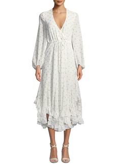 Shona Joy Sophia Dot-Print Long-Sleeve Drawstring Godet Midi Dress
