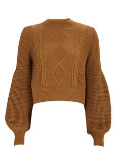 Shona Joy Warner Cropped Cable Knit Sweater