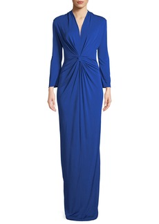 3/4-Sleeve Twist-Front Column Gown