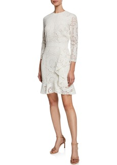 Shoshanna Abella 3/4-Sleeve Asymmetric Ruffle Lace Dress