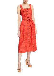 Shoshanna Albi Eyelet Sleeveless Belted Cotton Dress