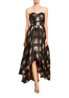 Shoshanna Alleah Metallic Plaid High-Low Bustier Gown