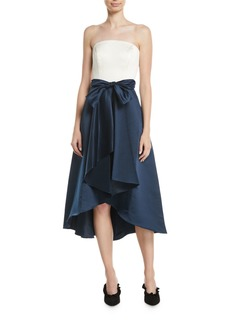 Shoshanna Allene Strapless High-Low Gown w/ Bow Waistline