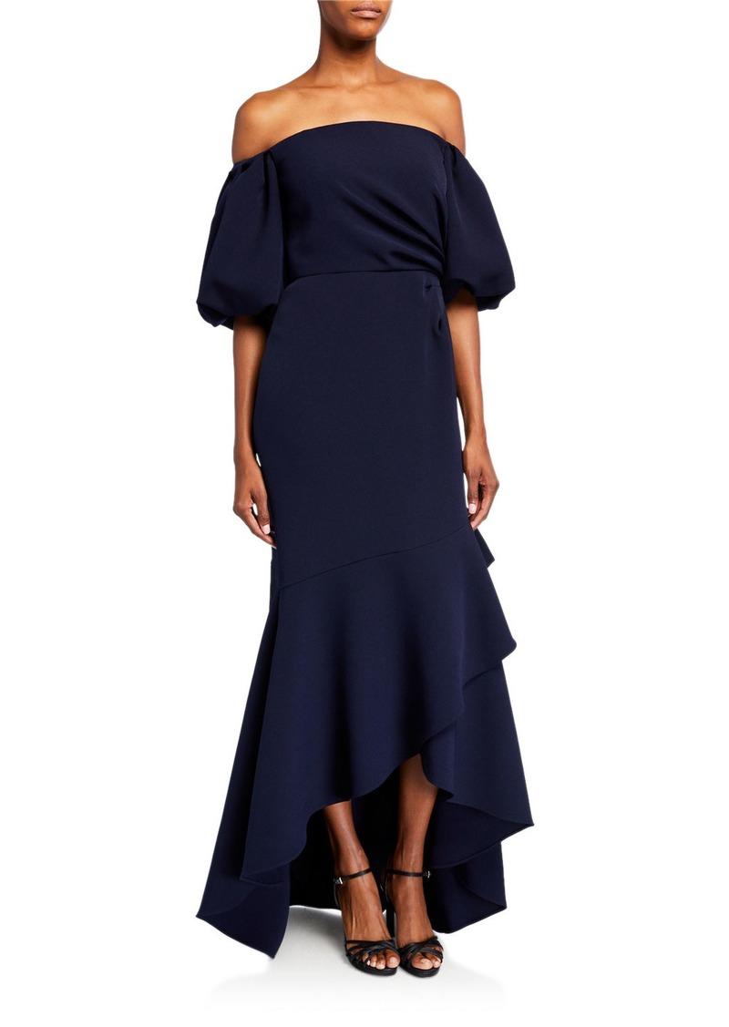 Shoshanna Alpida Off-the-Shoulder Midnight Stretch Crepe Flounce Gown