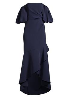 Shoshanna Alpida Strapless Puff-Sleeve Gown