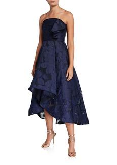 Shoshanna Amberose Strapless High-Low Floral Organza Dress