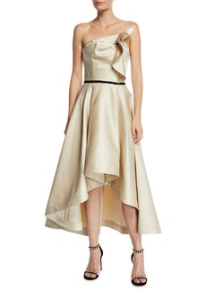 Shoshanna Amberose Strapless Satin High-Low Dress
