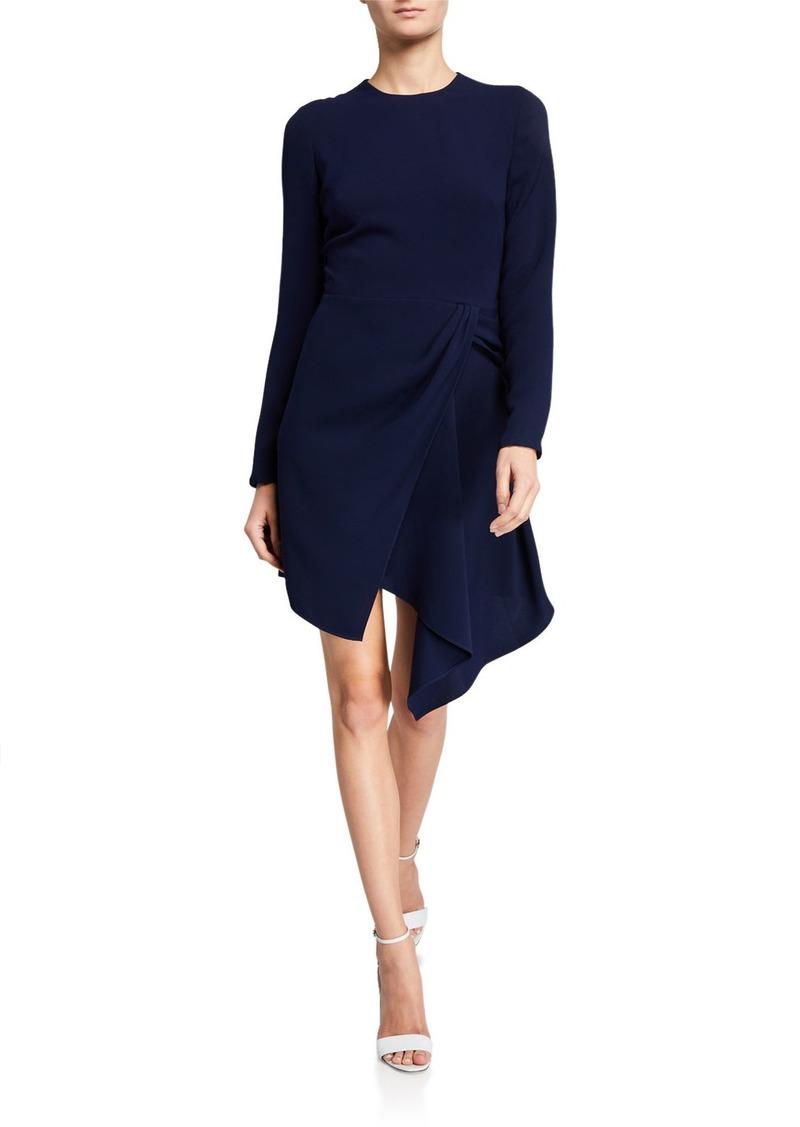 Shoshanna Aminta Long-Sleeve Stretch Crepe Asymmetric Dress