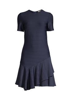 Shoshanna Arista Asymmetrical Flounce-Hem Dress
