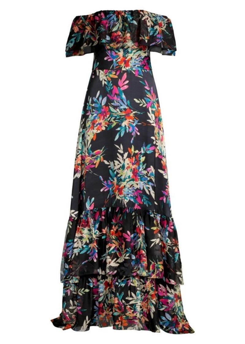 Shoshanna Asilah Floral Off-the-Shoulder Gown