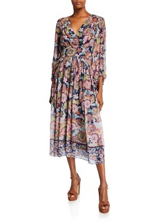 Shoshanna Aya Floral V-Neck Long-Sleeve Midi Dress