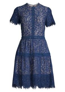 Shoshanna Aziza Lace Eyelet A-Line Dress