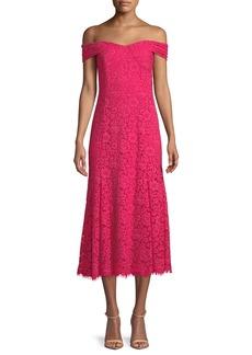 Shoshanna Balmwell Off-the-Shoulder Scalloped Lace Dress