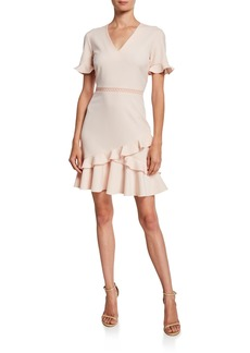 Shoshanna Belleme V-Neck Short-Sleeve Ruffle Dress
