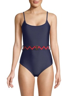 Shoshanna Belted One-Piece Swimsuit