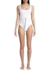 Shoshanna Belted Textural One-Piece Swimsuit