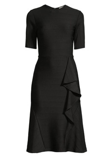 Shoshanna Belva Asymmetric Ruffle Stitch Rib Dress