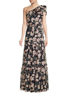 Shoshanna Biella Floral One-Shoulder Silk Gown