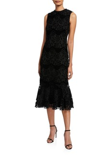 Shoshanna Bolton High-Neck Sleeveless Floral Lace Midi Dress