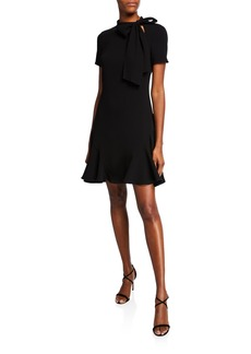 Shoshanna Bosher Mock-Neck Short-Sleeve Mini Dress with Bow Detail