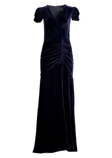 Shoshanna Brianna Ruched Silk-Velvet Column Dress