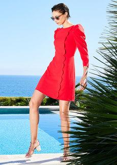 Shoshanna Brielle Stretch Crepe Puff-Sleeve Scallop-Edge Dress