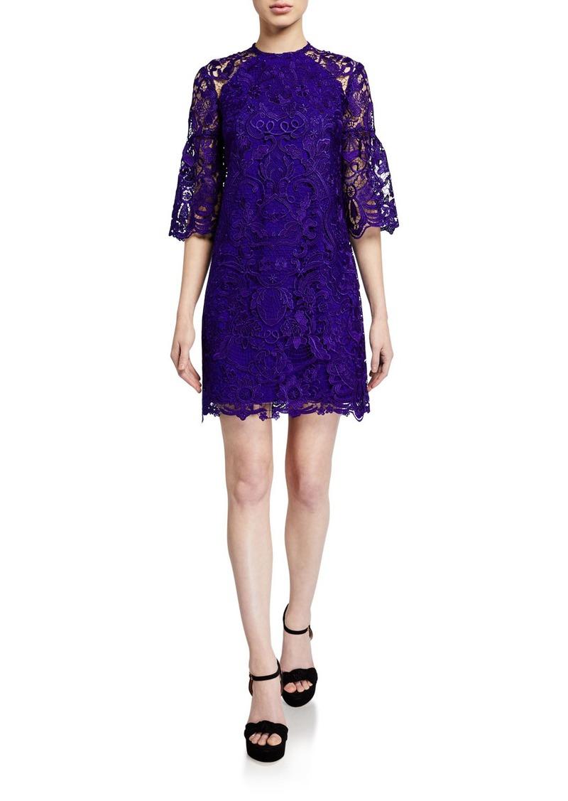 Shoshanna Broome Floral Lace Short Dress