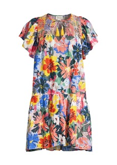 Shoshanna Butterfly Print Mini Cover-Up Dress