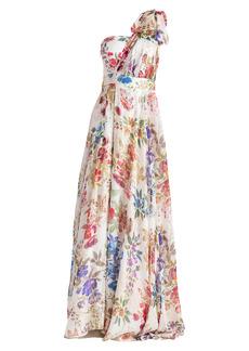Shoshanna Caprina Floral Metallic Silk Gown