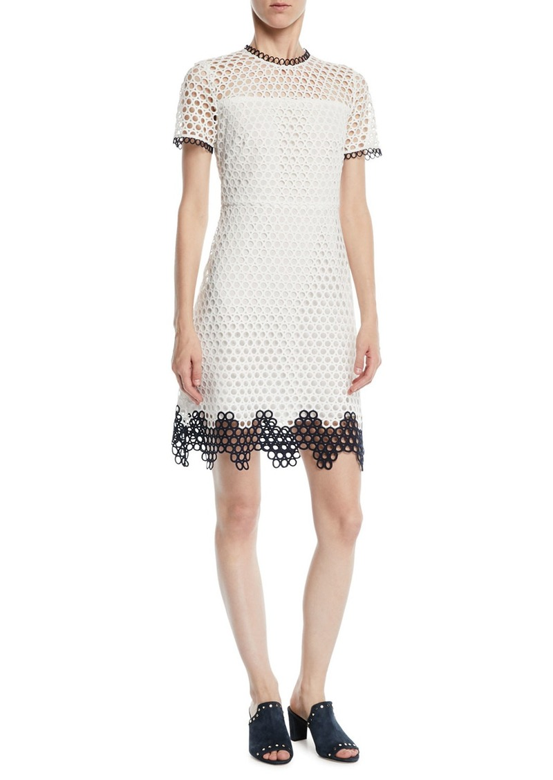 d7da91e0806b On Sale today! Shoshanna Carter Geo Lace Dress w/ Contrast Trim