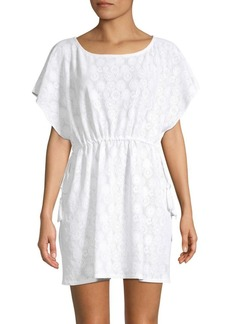 Shoshanna Medallion Eyelet Drawstring Cover Up Tunic